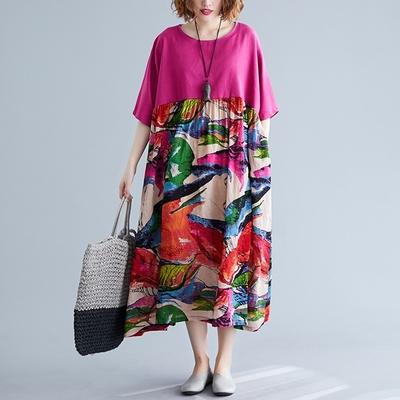 米蘭精品 連身裙短袖洋裝-拼接印花圓領舒適女裙子73xz18