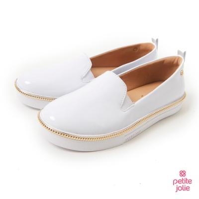 Petite Jolie--金屬飾邊亮面帆布鞋-白色