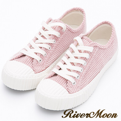 River&Moon餅乾鞋-韓系燈芯絨綁帶厚底休閒鞋-粉