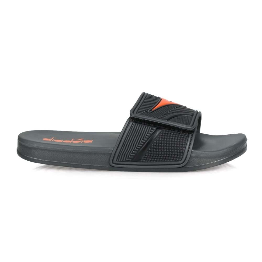 DIADORA 男 雙密度運動拖鞋 灰橘黑