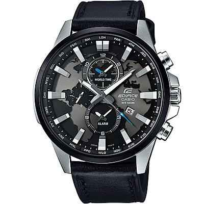 EDIFICE 世界地圖錶盤設計俐落帥氣皮帶腕錶(EFR-303L-1A)黑面/48.8mm