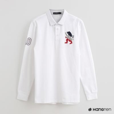 Hang Ten - 男裝 - 刺繡圖騰POLO杉 - 白