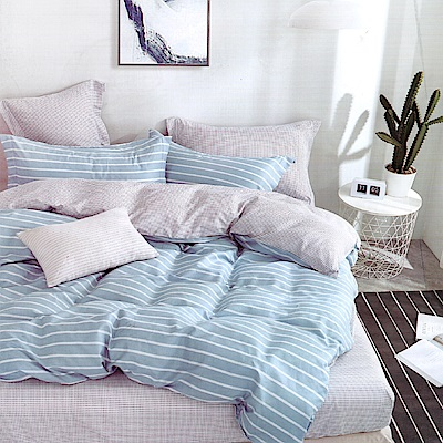 Grace Life 蒙特卡洛-青藍 台灣精製 特大精梳純棉床包三件組~床圍高度35公分