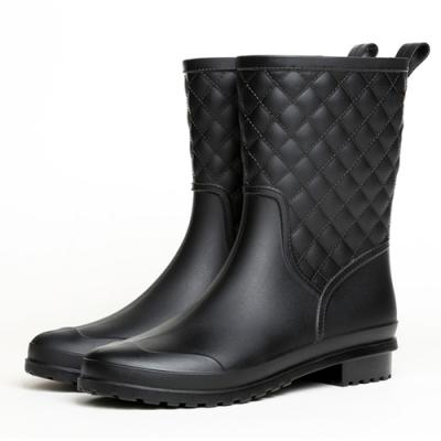 韓國KW美鞋館 名媛簡約樸實晴雨二用雨靴短筒靴-黑