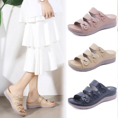 LN 現+預 韓版純色三帶涼拖鞋(涼鞋/拖鞋)