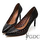 GDC-氣勢歐美獨特簍空胎牛皮尖頭高跟鞋-黑色