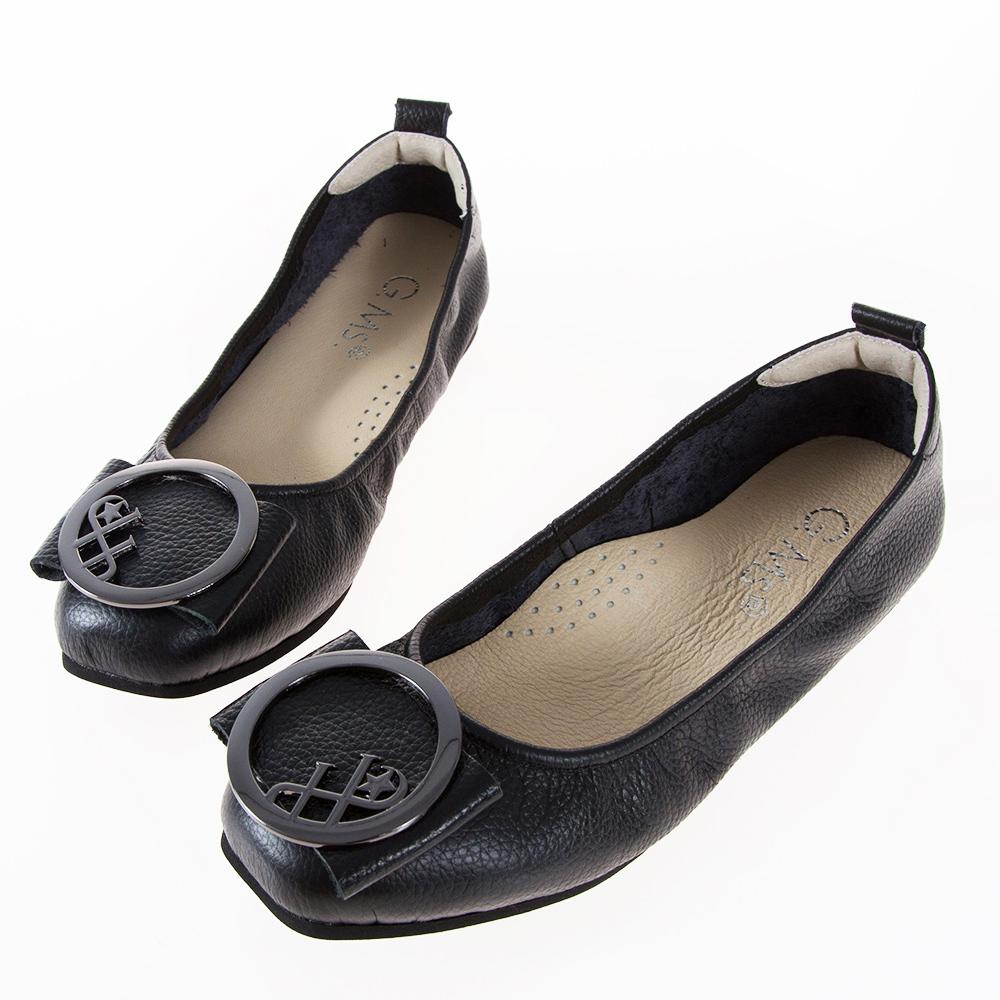 G.Ms. MIT系列-牛皮大圓飾釦方頭娃娃鞋-黑色