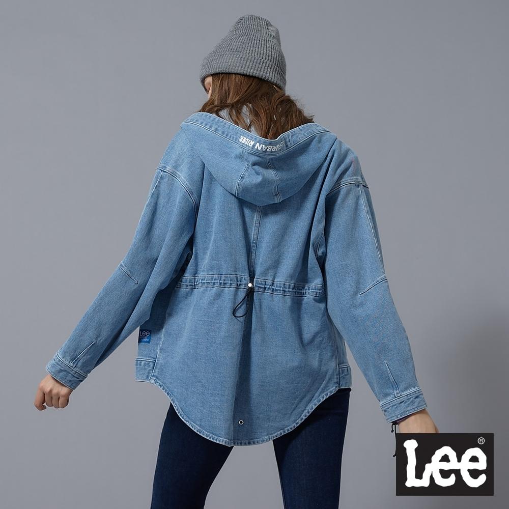 Lee 牛仔外套 連帽後長版 女 中藍 彈性