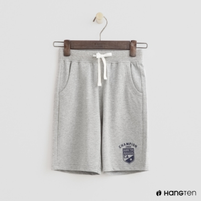 Hang Ten -童裝 - 純色盾牌logo運動棉短褲 - 灰