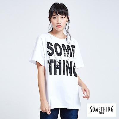 SOMETHING 青春高校寬版LOGO短袖T恤-女-白色