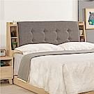 文創集 妮德時尚5尺棉麻布雙人床頭箱(不含床底)-151.5x24x101cm免組