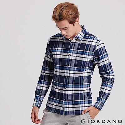 GIORDANO 男裝純棉磨毛修身單口袋長袖襯衫 - 30 藍格紋
