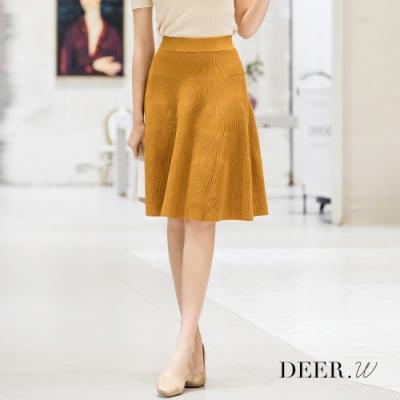 DEER.W 坑條及膝針織傘裙(薑黃)