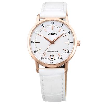 ORIENT東方簡約質感皮革女錶手錶-白X玫瑰金框/31mm