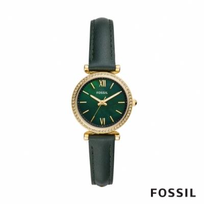 FOSSIL CARLIE MINI 復古金色皮革鑲鑽女錶-雲杉綠 28MM ES4651