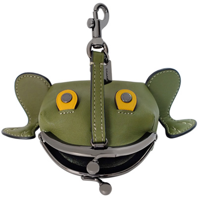 COACH Froggy全皮青蛙造型珠扣開合掛式零錢包