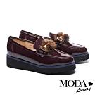 厚底鞋 MODA Luxury 復古時髦貂毛馬銜釦樂福厚底鞋-酒紅