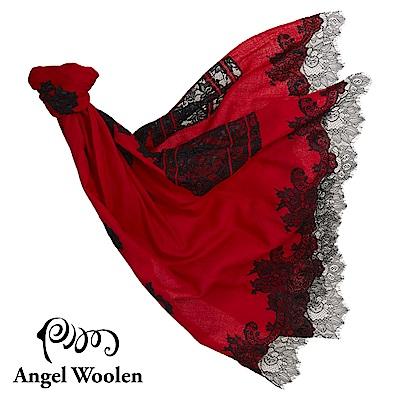 【ANGEL WOOLEN】紅色之戀印度手工cashmere蕾絲披肩