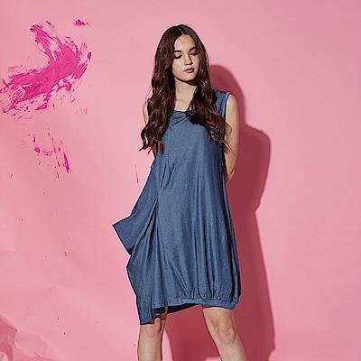 Hana+花木馬 100%棉製輕牛仔下擺空氣感打摺繭型設計大口袋造型洋裝-藍