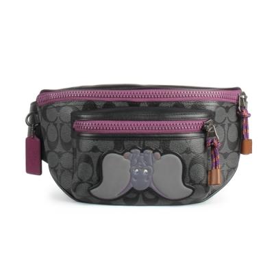 COACH X DISNEY 聯名款 經典C LOGO PVC皮革腰包-小飛象/灰黑