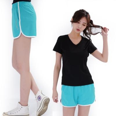 【遊遍天下】女款彈性吸排防曬慢跑運動機能短褲GP1012水藍