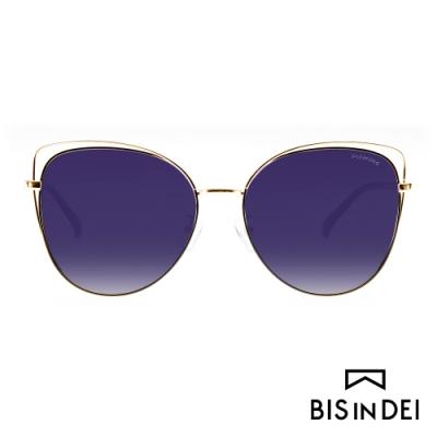 BIS IN DEI 鏤空造型貓眼眶太陽眼鏡-紫