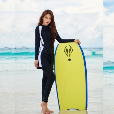 Biki比基尼妮泳衣,長袖五件套後工字泳衣情侶沖浪泳衣M-2XL(女生購買區)