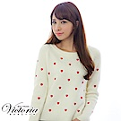 Victoria 愛心刺繡拉克蘭長袖線衫-女-白