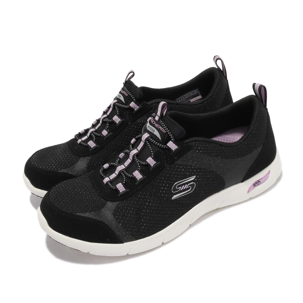 Skechers 休閒鞋 Arch Fit Refine 寬楦 女鞋 輕量 避震 緩衝 支撐 耐磨 足部舒壓 黑 粉 104165WBKLV