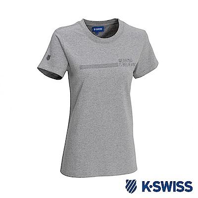 K-SWISS Wearing W/5 Stripe Tee印花短袖T恤-女-灰