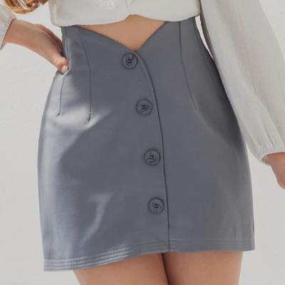 AIR SPACE 高腰V型剪裁排釦短裙(藍灰)