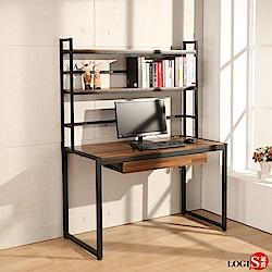 LOGIS  耐磨PVC防潑水工業風桌面附插座上層架書桌 工作桌 辦公桌 電腦桌 餐桌