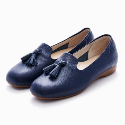 G.Ms. MIT系列-牛皮流蘇樂福休閒懶人平底鞋-藍色