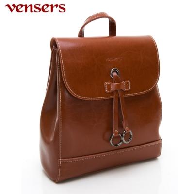 【vensers】小牛皮潮流個性包~後背包(NL1085201棕色)