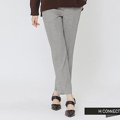 H:CONNECT 韓國品牌 女裝-知性格紋直筒長褲-卡其