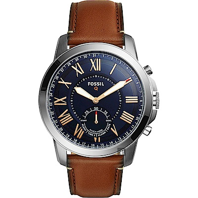 FOSSIL Q Grant 指針式智慧型腕錶(FTW1122)-藍x咖啡/44mm