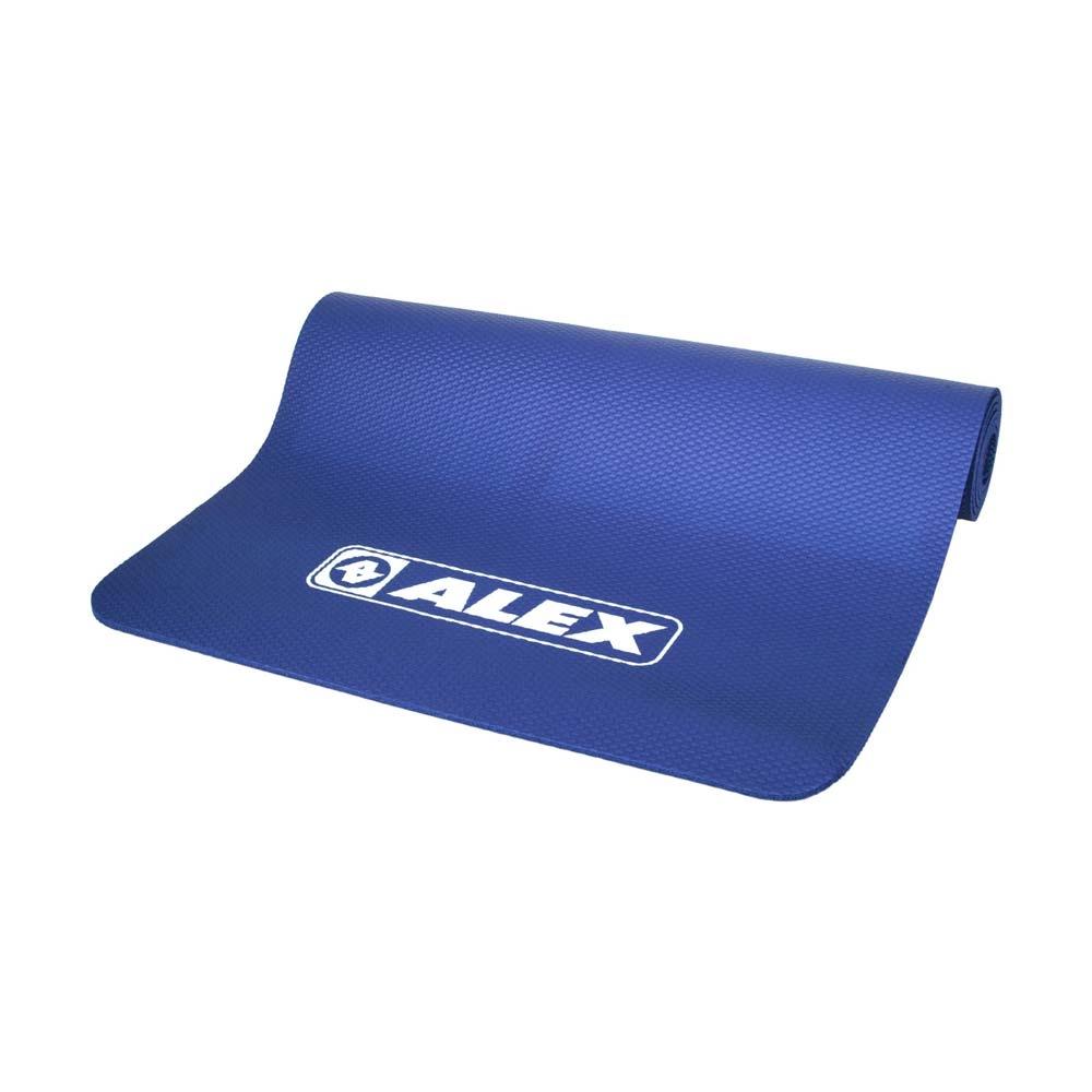 ALEX 專業瑜珈墊-台灣製 有氧 塑身 地墊 止滑墊 附收納袋 SGS認證 C-1812-1 深藍白