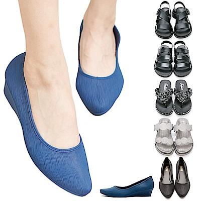 [時時樂限定]River&Moon防水鞋-晴雨二穿涼拖/跟鞋-多款選