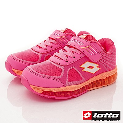 Lotto義大利運動鞋 抗菌彈力跑鞋款 FI833橘粉紅(中小童段)C