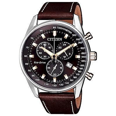 CITIZEN 星辰光動能真皮三眼計時手錶(AT2396-19X)-咖啡/43mm