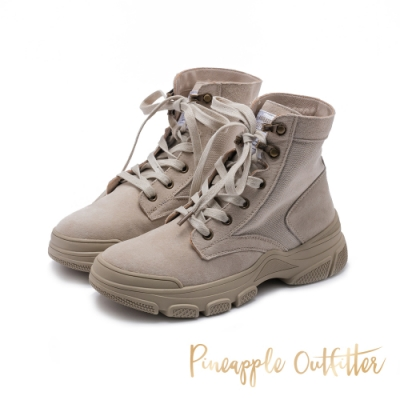 Pineapple Outfitter 仿舊風格絨面綁帶中筒馬汀靴-卡其