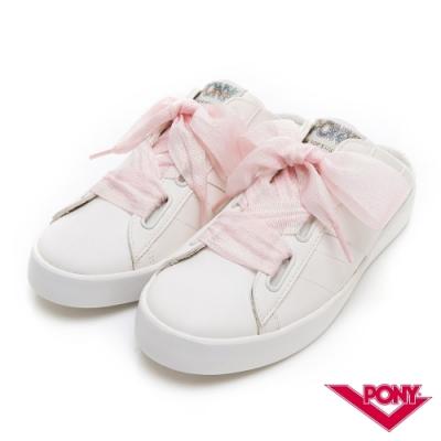 【PONY】TOP STAR皮革時尚休閒懶人穆勒鞋 拖涼鞋 2色