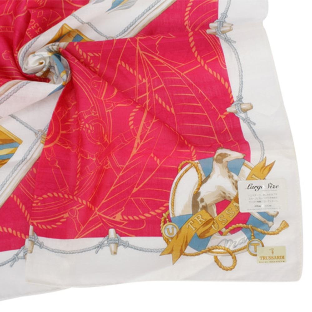 TRUSSARDI 飄洋藍圖海軍風帕巾(紅/白)
