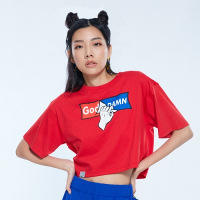 UDOU God Damn 短版T恤 (紅)