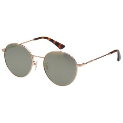 POLICE- 偏光片 水銀面 復古圓框 太陽眼鏡 (金色)PE866I