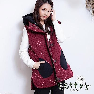 betty's貝蒂思 點點跳色無袖鋪棉背心(紅色)