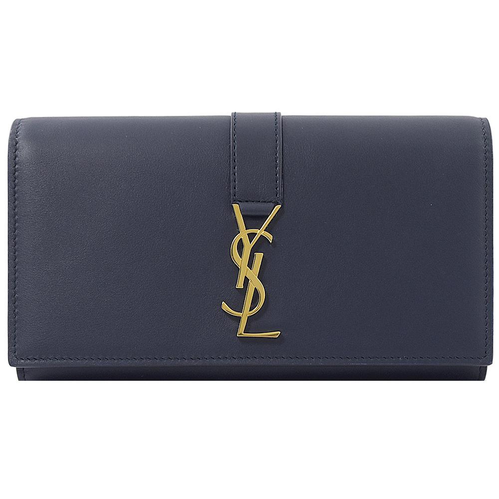 YSL Saint Laurent 金屬logo牛皮釦式長夾(深藍) @ Y!購物