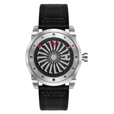 ZINVO 刀鋒戰士渦輪機械腕錶-黑X銀(BSLVR)/44mm