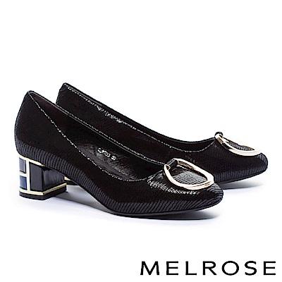 高跟鞋 MELROSE 復古奢華金屬圓環設計麂皮特色鞋跟高跟鞋-黑