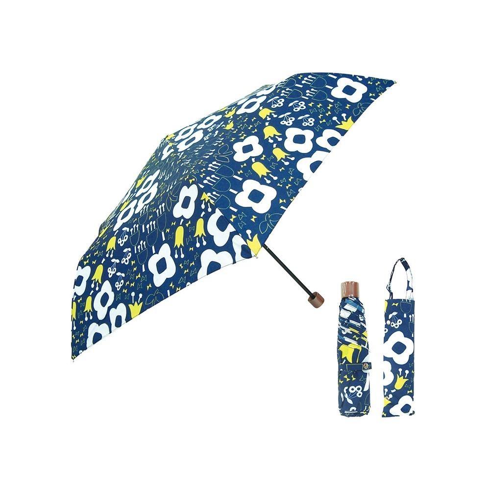 日本Prairiedog 晴雨兩用抗UV摺疊收納傘+多功能收納傘袋-深藍花園